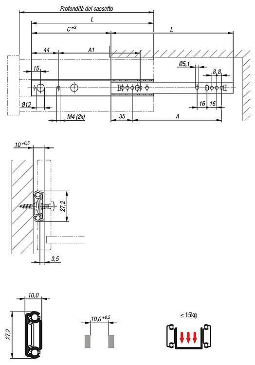 Guide telescopiche estensione parziale, capacit di... - K0536