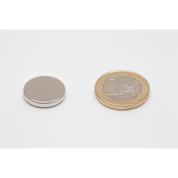 Neodymium disc magnet 18x3mm, N45, Ni-Cu-Ni, Nickel coated - Disc