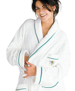 PEIGNOIRS ET CHAUSSONS - Robe de Chambre avec Biais