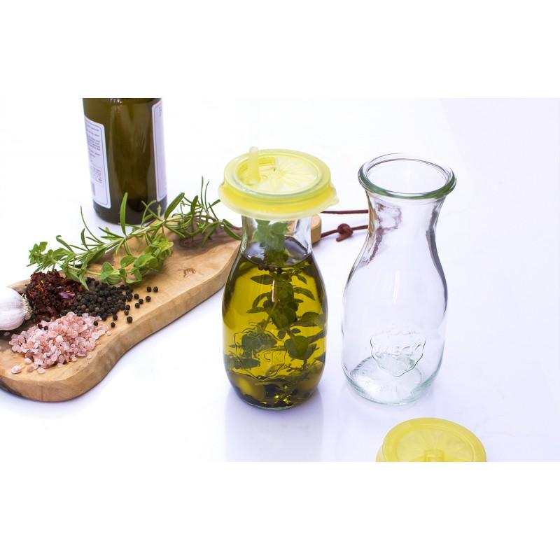 VASI WECK SENZA COPERCHIO - 4 bottiglie di vetro 540 ml WECK FLACON, senza coperchio ne