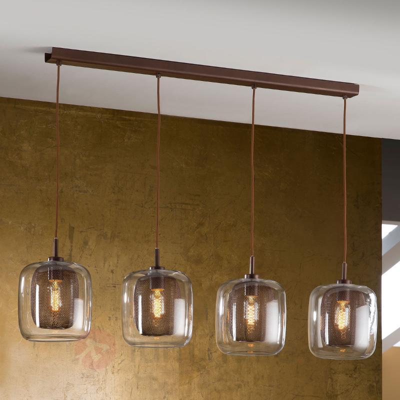 Suspension Fox à 4 lampes avec double abat-jour - Suspensions en verre