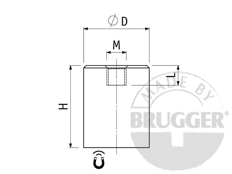Bar magnet AlNiCo, steel body, with internal thread - null