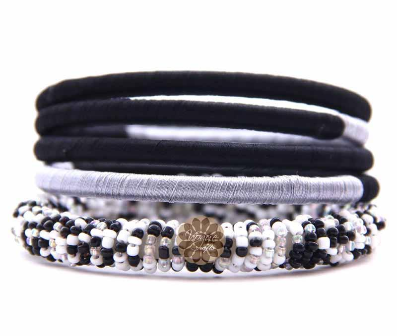 Thread and Bead Bangle Stack -