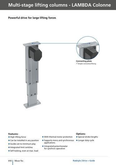 Columnas Lambda Colonne - Columnas elevadoras de varias etapas para más de 500 mm de carrera