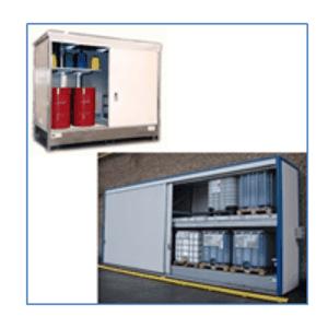 Armoires pour fûts et cuves de 1000 L  - Armoires pour fûts et cubitainers