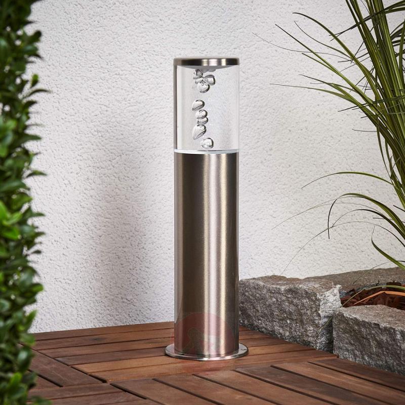 Stainless steel LED pillar light Belen bubble look - outdoor-led-lights