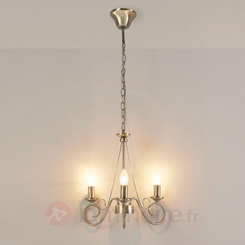 Lustre Marnia en laiton ancien, 3 lampes - Lustres classiques,antiques