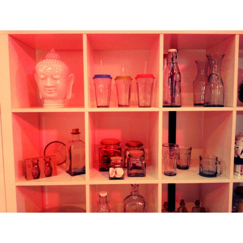 t te de bouddah en verre blanche cabeza di buda 30 cm vases lanternes d coration mcm. Black Bedroom Furniture Sets. Home Design Ideas