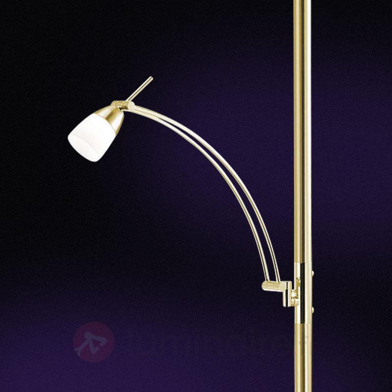 Lampadaire LED Pearl avec liseuse, laiton - Lampadaires LED à éclairage indirect