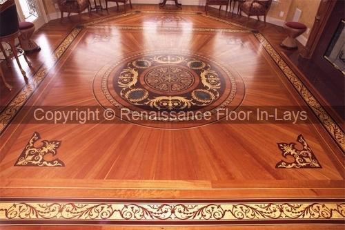 rozeta podłoga drewniana do salonu - Rozmiar: 122 cm , Tło: Avodire Ornament: Wenge, Orzech,Sapele, Padouk,