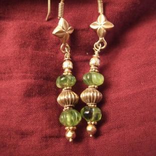 Boucles d'oreilles - Or18ct, péridot ,Inde