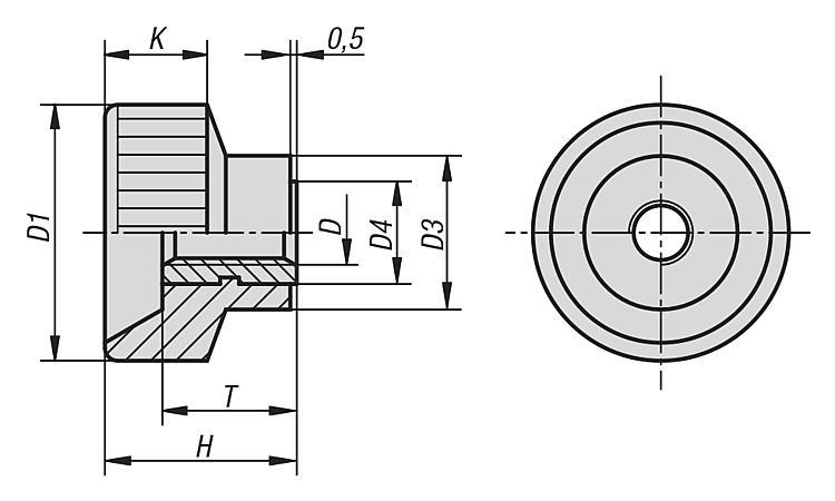 Knurled Nuts Plastic - Operating parts