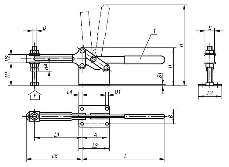 Sauterelle à levier horizontal grand modèle - Sauterelles
