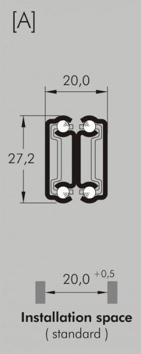 ITS 040 stainless steel slide 35 kg - 27,2 x 20 mm full extension drawer slide stainless steel length 100 - 500 mm
