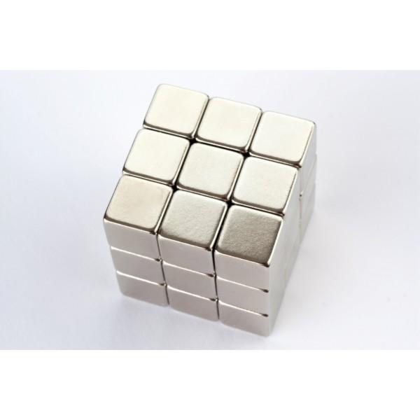 Cube magnet 10mm, Neodymium, N42, Ni-Cu-Ni, Nickel coated - null