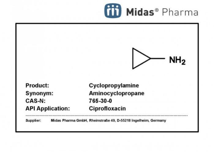 Ciclopropilamina - Ciclopropilamina; CAS 765-30-0; Intermediario farmacéutico y de fragrancias
