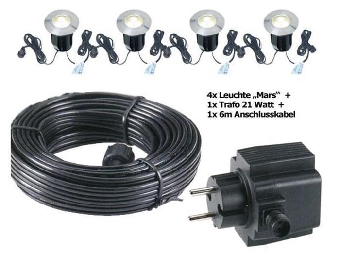 Einbauleuchten - MARS LED Einbauleuchten 4er Set inkl. Trafo 21 Watt und 10 M