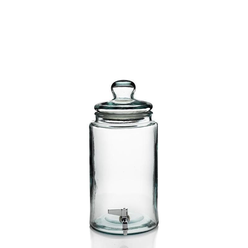 Damigiana cilindrica 6 litri  - con rubinetto e coperchio in vetro