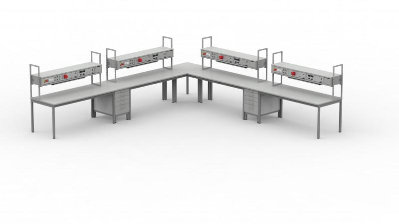 BASIS-Labortisch - Labortisch,pulverbeschichtetes Stahlrohrgestell,verschiedene Abmessungen möglich