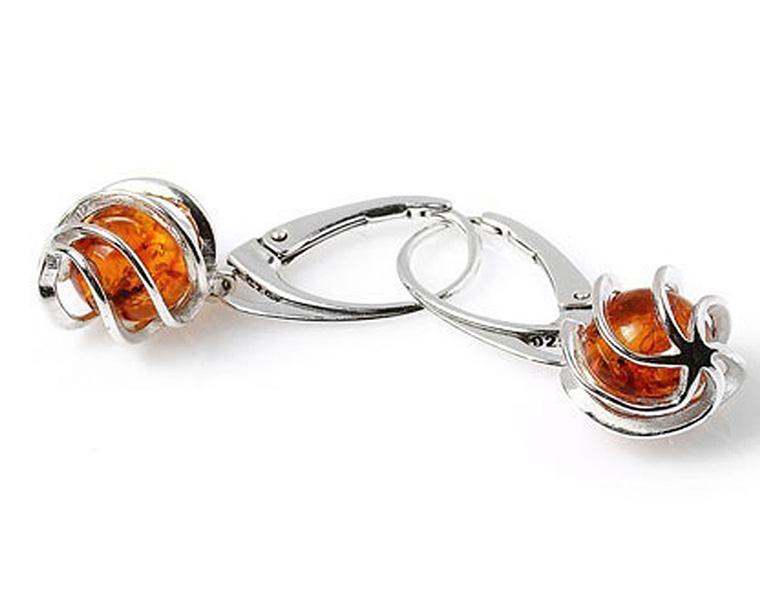 Boucles d'oreilles en argent 925 avec de l'ambre -
