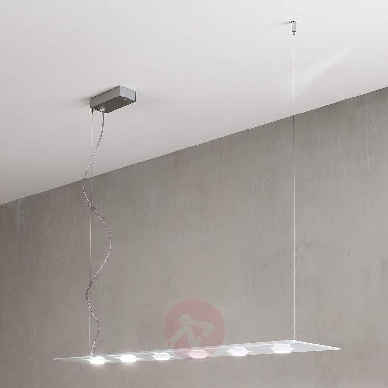 Delicate LED hanging light Pois, white, steel - Pendant Lighting