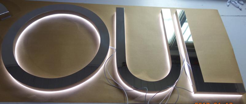 halo lit stainless steel signs - back lit signs, customized signs, fabricated signs