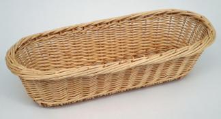 Corbeille ovale bateau osier blanc bord natté  - L.25cm