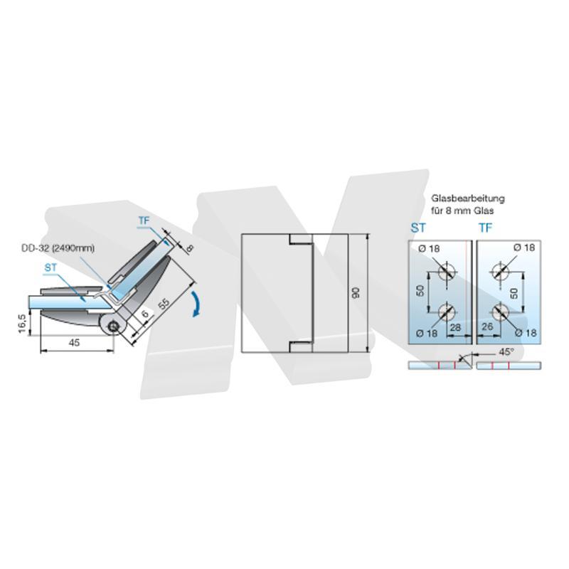 Shower door hinge Farfalla, glass-glass 135°, opening outward - Shower hinges PS
