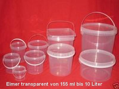 Eimer transparent  mit Deckel 155 ml bis 10 Liter - Verpackungseimer Lebensmittelecht