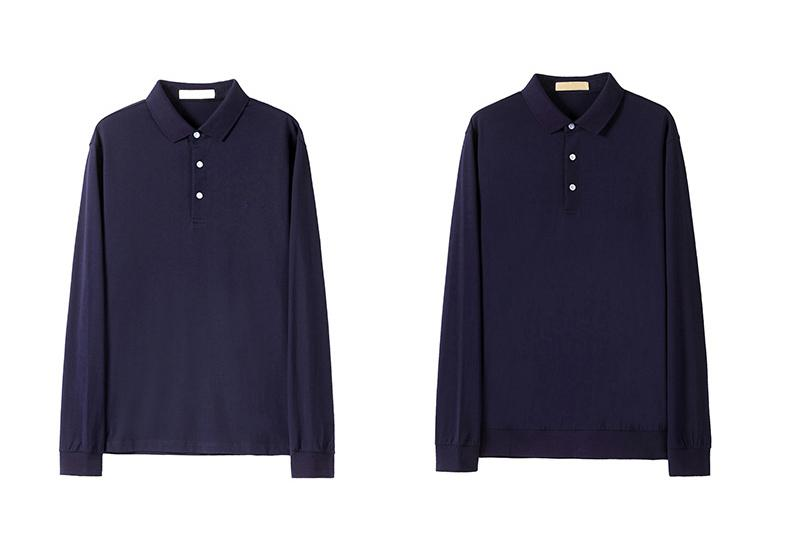 Men's long sleeve turn-down collar T-shirt - long sleeve polo t-shirt