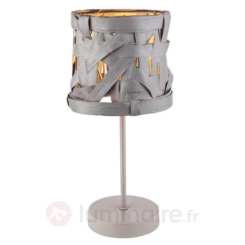 Lampe à poser grise Isai avec abat-jour textile - Lampes à poser en tissu