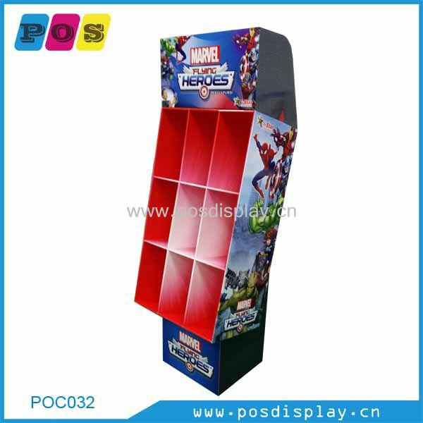 Point of sales floor display - corrugated cardboard 9 pockets display for toys