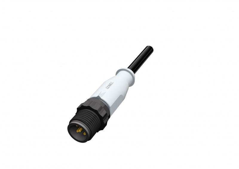 M12 Steckverbinder umspritzt mit Kunststoffüberwurfelement - M12x1 Rundsteckverbinder umspritzt mit Kunststoffüberwurfelement