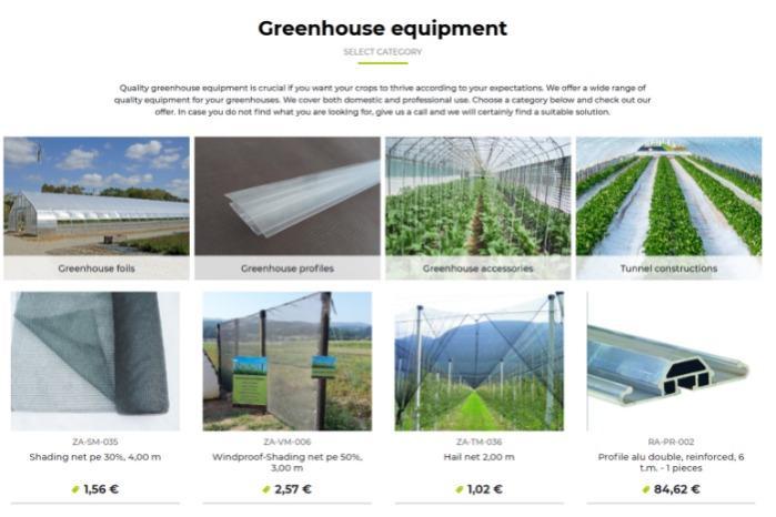 Oprema za rastlinjake / Greenhouse equipment -
