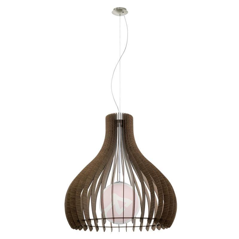 Brown Tindori hanging light with wooden slats - indoor-lighting