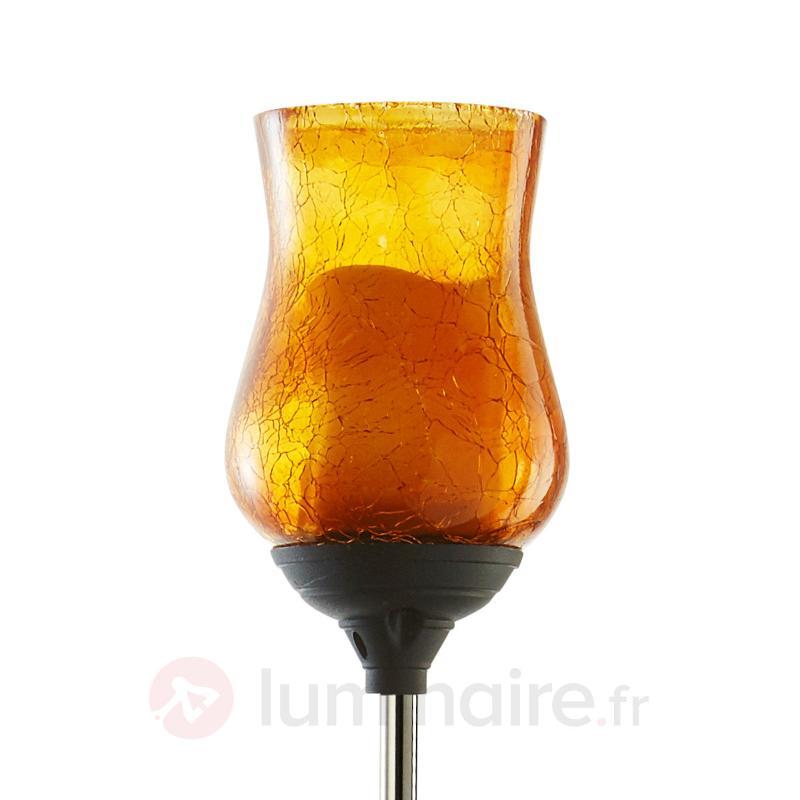 Lampe solaire LED à piquet Lyon, cal. verre orange - Lampes décoratives d'extérieur