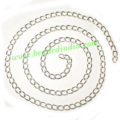 Silver Plated Metal Chain, size: 0.5x4mm, approx 53.3 meters - Silver Plated Metal Chain, size: 0.5x4mm, approx 53.3 meters in a Kg.