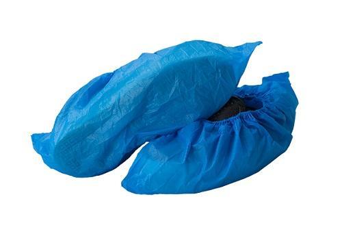 Shoecover en plastique PE / CPE - Style: Machine faite Matériel: PE / CPE Couleur: Bleu / blanc Poids: 2 / 2.5 / 3