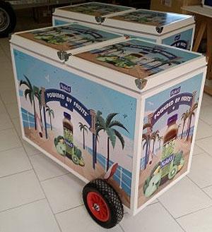Chariot ambulant isotherme / réfrigéré - Convient au commerce sur plage, festival, ainsi qu'en milieu urbain.