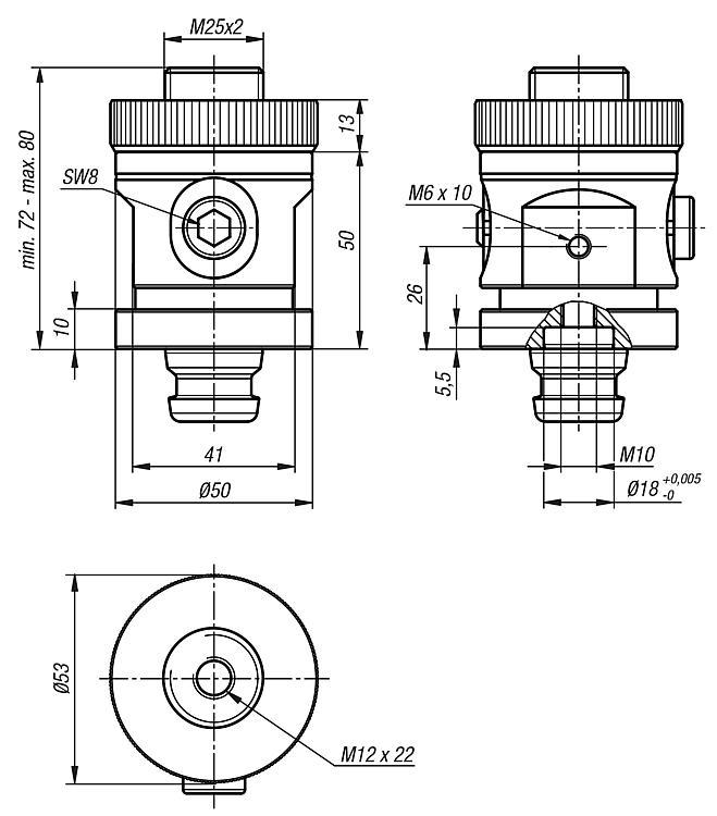 Module entretoise 5 axes UNI lock, réglable, pas de 50 mm - UNI lock pas de 50 mm