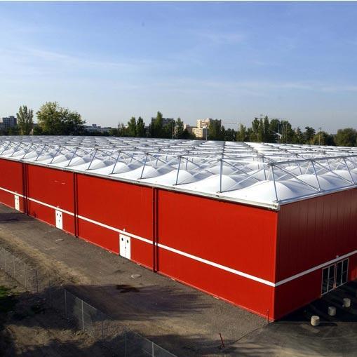 Couverture textile pour l'industrie ou le stockage - Systèmes de construction démontable