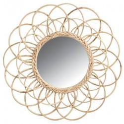 Miroir en rotin fleur - Déco