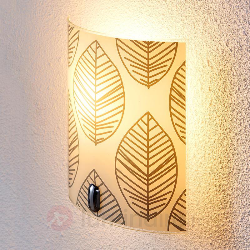 Applique en verre Savas avec décor de feuilles - Appliques en verre