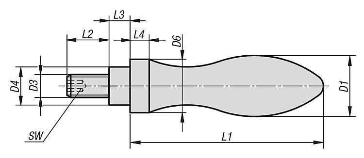 Poignée tournante similaire à DIN 98, Forme E, en acier - Volants, manivelles et poignées