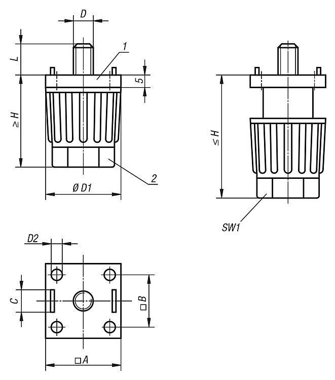 Pied de montage réglable pour profil aluminium - Pieds réglables, pieds de machine