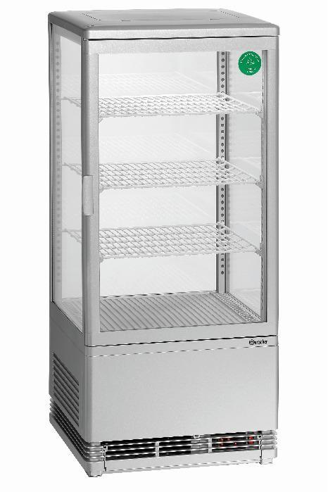 Mini vitrine réfrigérée 78L, argent - Code-No.700778G