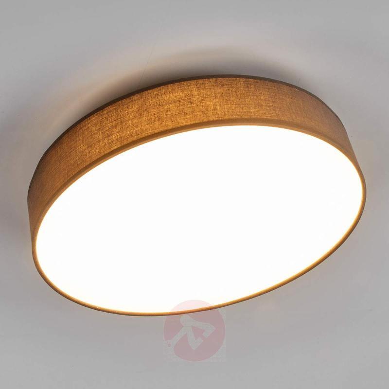 Lovely LED fabric ceiling lamp Saira in grey - Ceiling Lights