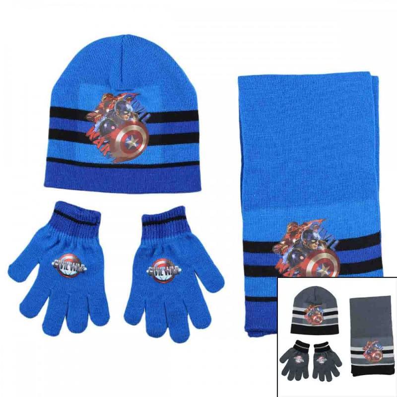 3x Echarpes et bonnets et gants Captain American - Bonnet Gant Echarpe