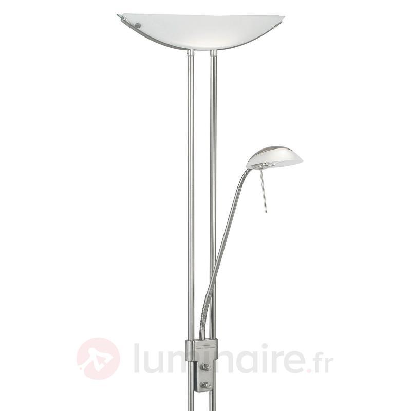 Lampadaire moderne Baya nickel blanc - Lampadaires à éclairage indirect