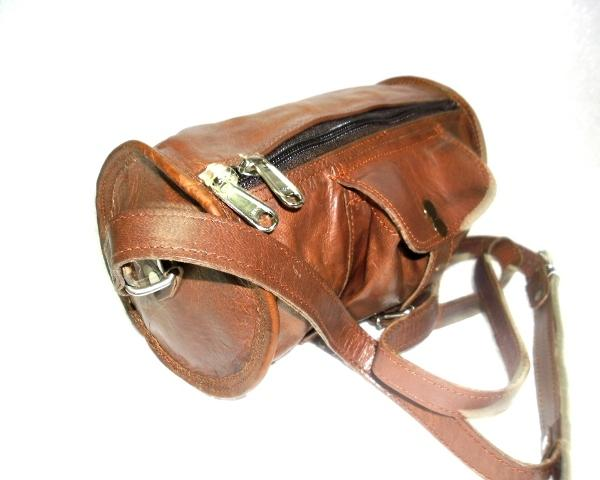 Leather Small Messenger Bag - Leather Round messenger bag